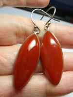 STERLING SILVER 925 ESTATE VINTAGE RED CARNELIAN DANGLE DROP 2 INCH EARRINGS