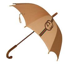 Authentic Vintage années 1960 GUCCI Plaqué or & émail En Coton Parapluie Parasol
