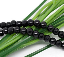1 STRAND BLACK PEARL~8mm~ROUND GLASS BEADS ~Bracelets~Necklace~ APPROX 110 (56H)