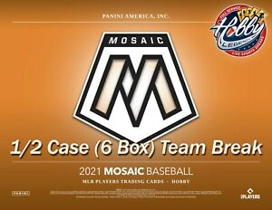KANSAS CITY ROYALS 2021 Mosaic Baseball HOBBY 1/2 Case (6 Box) Team Break #4