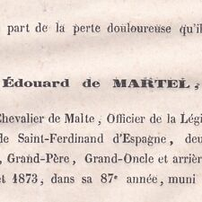 Edouard De Martel Verneuil Eure 1873 Chevalier de Malte