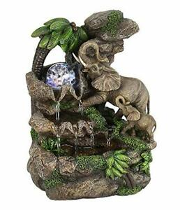 """11"""" Tall Polyresin Indoor Fountain with LED Light and 1l Capacity, Elephant D..."""
