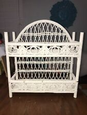 Vintage 2 Tier White Rattan Wicker Shelf Free Standing or Wall Mount
