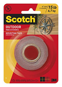 Scotch Outdoor Mounting Tape, 1-inch x 60-inches, Gray, 1-Roll 411P