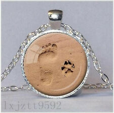 DOG LOVER NECKLACE Dog Paw Pendant Paw Print Jewelry Paw and Footprint Pendant!!
