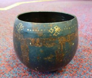 Vintage Old Metal Brass decorated Thai bowl Siamese Singing Meditation