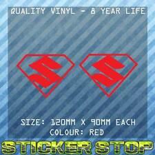 SUZUKI SUPERMAN VINYL DECAL/STICKERS (TWO, RED, 12cm EACH) CAR, WINDOW