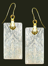 14k GOLD WIRE EARRINGS FINELY ENGRAVED DESIGNS on OBLONG ANTIQUE CHINESE PEARL