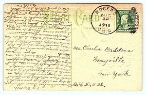 1910 Antique Postcard From Rogers Ohio Postmark Charles Badders Mayville NY E24