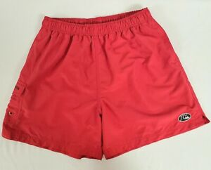 Men's QuikSilver Board Shorts Surf Swim Trunks Red Mesh Lined Size M