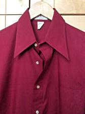 Vintage Van Heusen 417 Mid Century Mod Mens Burgundy Red Dress Shirt M 15-15 1/2