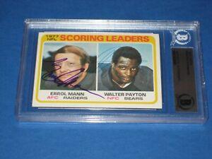 WALTER PAYTON & ERROL MANN Signed 1978 TOPPS Card #334 Beckett Authenticated
