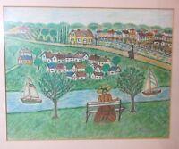 vintage original Allan Mitelman Folk Art mixed media landscape painting drawing