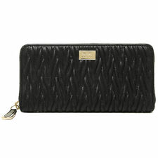 NEW COACH BLACK MADISON TWIST LEATHER ACCORDION ZIP WALLET CLUTCH PURSE F49609 !