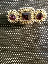 NWOT-FAB silvertone and goldtone faceted amethyst bar pin--great classic look!