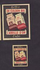 Anciennes étiquettes allumettes Belgique BN24030 Café L'Abeille d'or 2