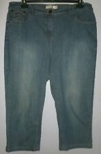 Lovely Women's M&Co Blue Stretch Denim Cropped Jeans UK Size 20