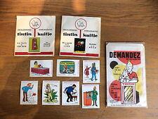 12 anciens documents papier TINTIN RARE decalco+sachet+auto collant pub