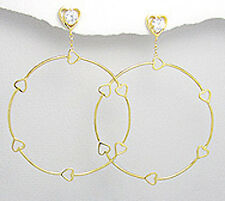 Yellow Gold Over 5.4g Sterling Silver Heart & CZ Vermeil BIG Dangle Earrings