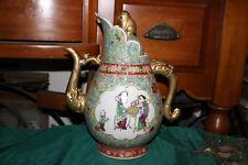Important Chinese Porcelain Teapot-Elephant Handle Spout-Women Children-Signed