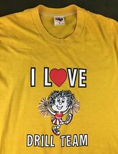 Vintage Women's M 80s Drill Team I Love Dance Graphic Heart Yellow T-Shirt