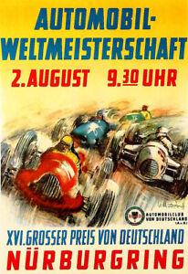 Nurburgring Grand Prix 1948 Race Auto Automobile Car Art Ad Poster Print