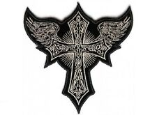 "(A30) Small GOTHIC CROSS with WINGS 4"" x 4"" iron on patch (4463) Christian"