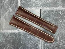 New OMEGA 19mm Brown Leather Deployment Strap Beige Watch Band Speedmaster