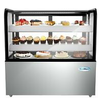 """48"""" Upright Refrigerated Bakery Display Case 13 cu. Ft. Curved Glass Front - LED"""