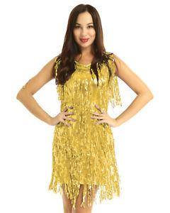 Women Sexy Sparkly Tassel Dress Ballroom Samba Sequin Fringe Dance Flapper Dress