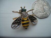 Vintage Style  BEE Bumble Insect ENAMEL & CRYSTAL BROOCH Pin Jewellery