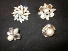 SET OF FOUR BULLETIN BOARD BLING RHINESTONE AND SILVER PUSH PINS