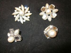 Set of Four Bulletin Board Bling Rhinestone and Sparkle Silver Push Pins