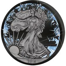 LIBERTY DEEP FROZEN RUTHENIUM PLATINUM AND COLOR 1 OZ BU SILVER COIN USA 2016