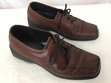 ECCO Men's 39 5-5.5 Casual Dress Shoes Brown Leather Lace Up Oxford Bicycle Toe