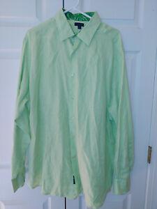 Vtg Men Lilly Pulitzer Solid Green Linen Wyeth Button Down Dress Shirt Size XXL