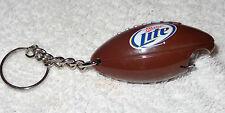Miller Lite Beer Key Chain - Bottle Opener - Plastic..Shaped Like a Football NEW