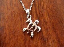 Hawaiian 925 Sterling Silver PETROGLYPH HONU TURTLE Pendant Necklace SP56306