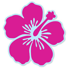 "Hibiscus Flower Pink car bumper sticker window decal 4"" x 4"""