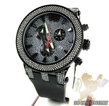 Mens Joe Rodeo Broadway Black Stainless Steel Diamond Rubber Band Watch 5.00 ct