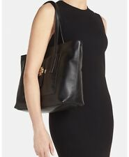 Tory Burch 'Plaque' Tote Leather Shoulder Logo Hand Bag New Black Robinson