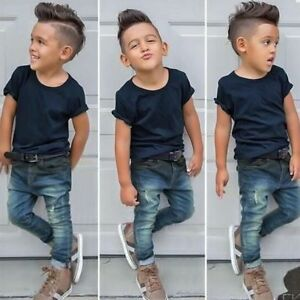 Hot Sale 2PCS Baby Boys Summer T-Shirt Tops + Jeans Kids Casual Clothes Outfits