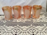 Imperial Carnival Glass Frosted Windmill Water Glasses ~ 4 Pieces ~ Marigold