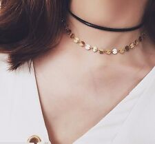 New Gold Elegant Sequin Disc Chain Collar Wrap Coin Minimalist Choker Necklace