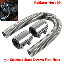 24'' Chrome Stainless Steel Flexible Radiator Hose Kit W/ Billet Clamp Covers