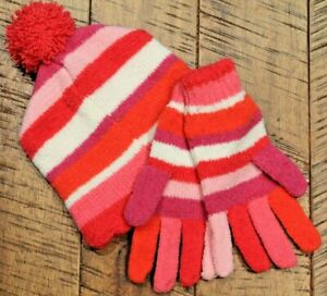 Girls Striped Hat with Pompom & Glove Set (Size 8-14) The Children's Place NWT