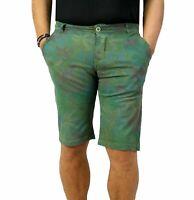 Bermuda Uomo Chino Cargo Pantalone corto Floreale Shorts Casual slim fit Verde