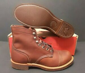"""RED WING MEN'S  6"""" 8111 IRON RANGER AMBER HARNESS LEATHER BOOTS SIZE: 7"""