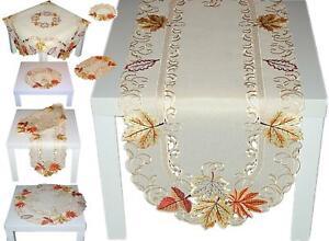 Tischdecke Mitteldecke Läufer Deckchen Tischläufer HERBST Creme Blätter Gestickt