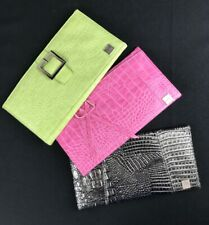 Set of 3 MICHE Women's Silver/Pink/Green CROCODILE Leather Look Purse Side Cover